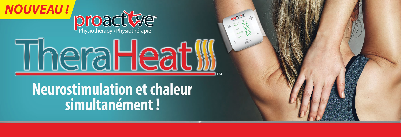 Électro stimulation et thérapie par la chaleur. Le neurostimulateur TheraHeat™ soulage la douleur en combinant la neurostimulation électrique transcutanée (TENS) avec un traitement par la chaleur.