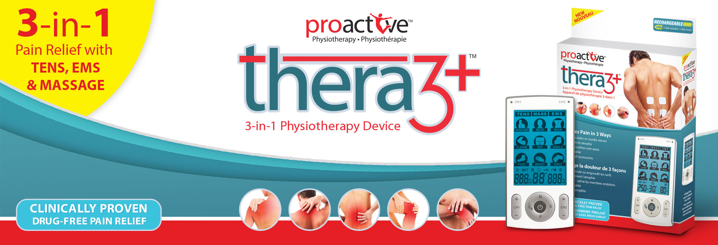 Thera3+™ by ProActive™ is a 3-in-1 (TENS, EMS & massage) device is rechargeable with 78 pre-set programs along with the ability to fully customize treatment options.